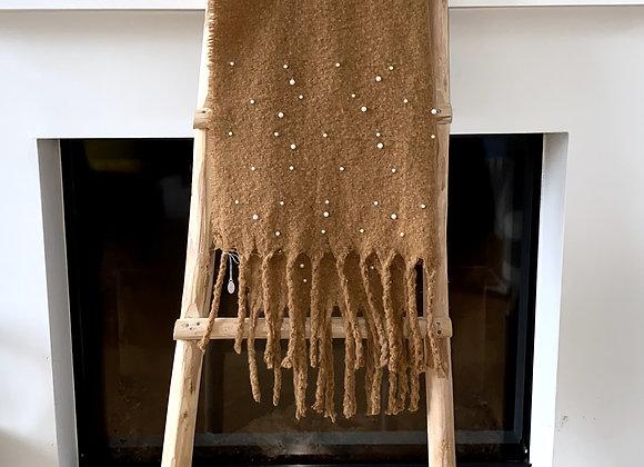 Sjaal effen met parels en frengels