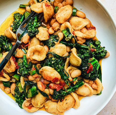 Spicy Orecchiette with Marinated White Beans and Baby Broccoli