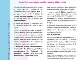Inscription Tremplin des Franco2020 !