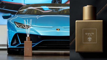 是超跑的味道!CULTI MILANO專為藍寶堅尼量身訂製香氛,頂級客製化車色Zenas Bronze金做為包裝,太有質感了~