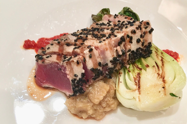 Seared tuna with eggplant purée and fennel