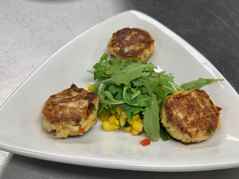 Crab Cakes with corn salsa
