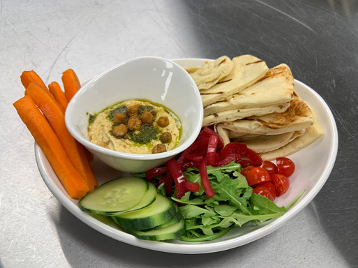 Hummus with basil oil