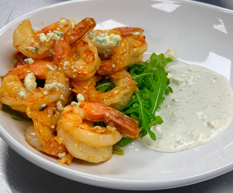 Buffalo Shrimp tossed with blue cheese