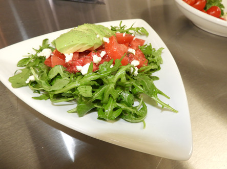 Arugula, tomato and avocado salad