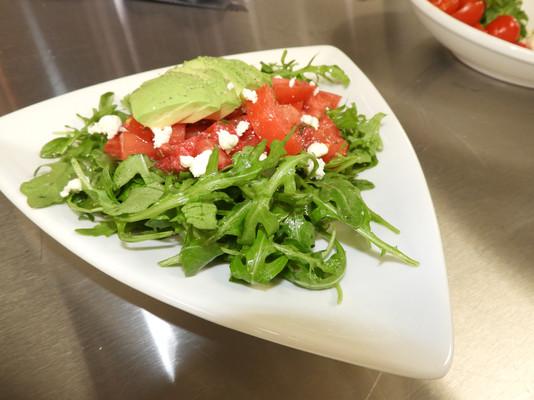 Arugula, tomato and avocado salad