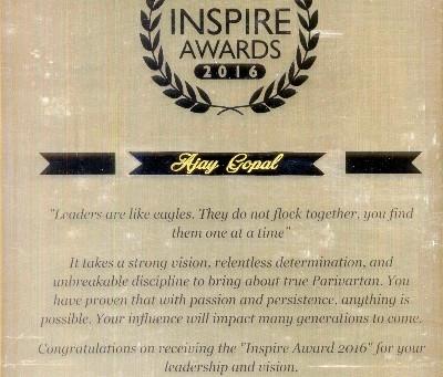 Nitya Seva Society's Ex- Secretary Recieves the ' Inspiration Award'