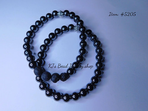 Hematite Men's Set w/ Lava Beads