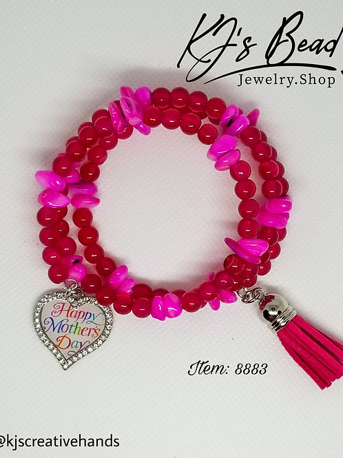 Happy Mother's Day Cherry Quartz & Hot Pink Memory Wire Bracelet
