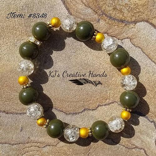 Khaki Green Jade • Champagne Crackle Glass
