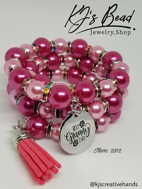 Best Granny Ever - Pink Fusion Pearl Memory Wire Bracelet
