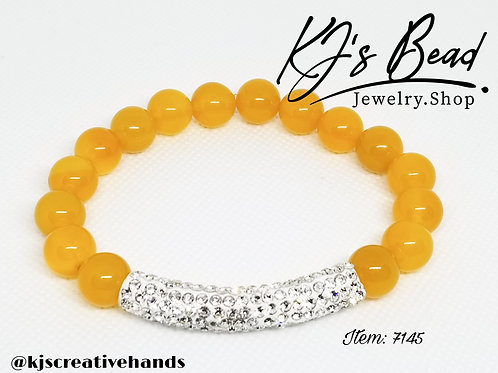Yellow Agate Bracelet w/ Rhinestone Bar