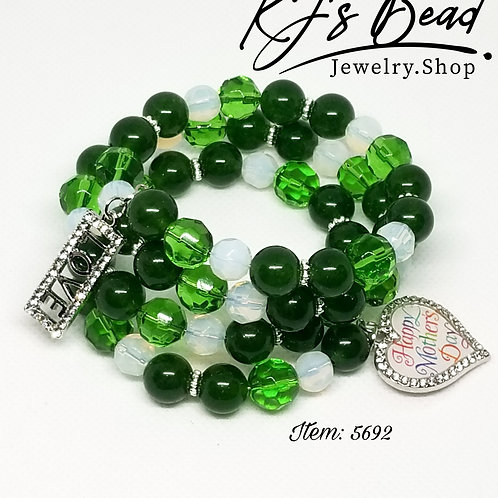 Happy Mother's Day - Memory Wire Bracelet - Green