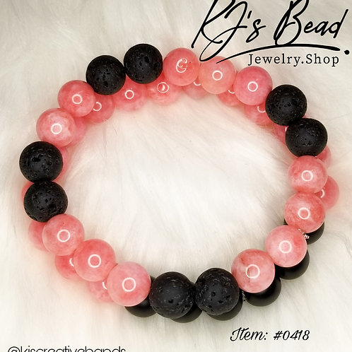 Pink Angelite, Black Onyx and Infusion Beads