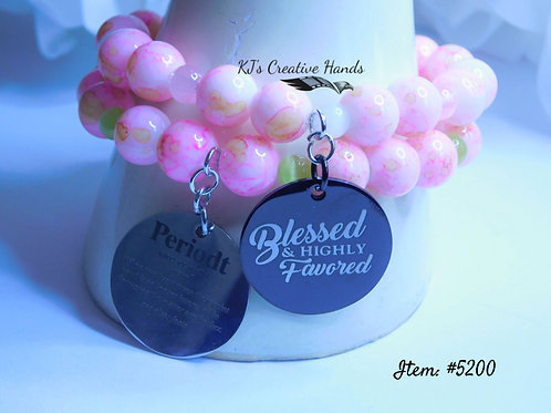 Marble Pink Glass w/ SoftPink Jade & White/Apple Cat Eye