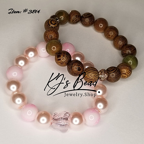 Baby Glam Variety Set _ Pink Pearl Pink Marble _ Wood & Gemstone