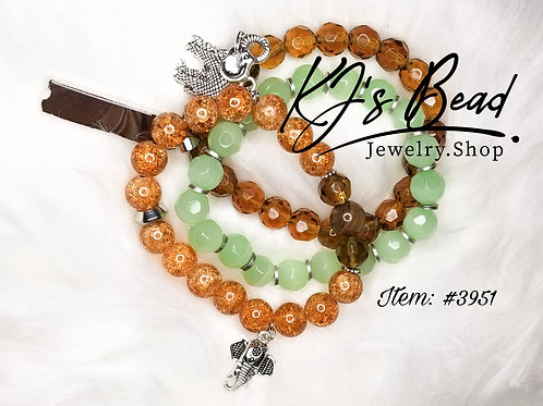 Brown & Mint Green Stack w/ Elephant Charms