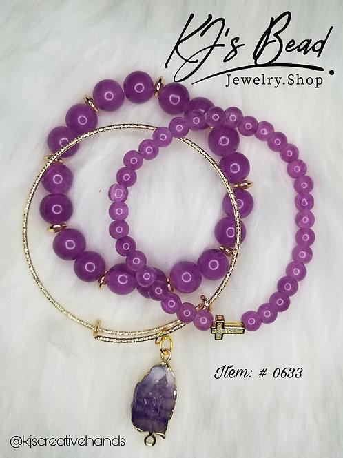 Amethyst Bracelets & Gold Bangle