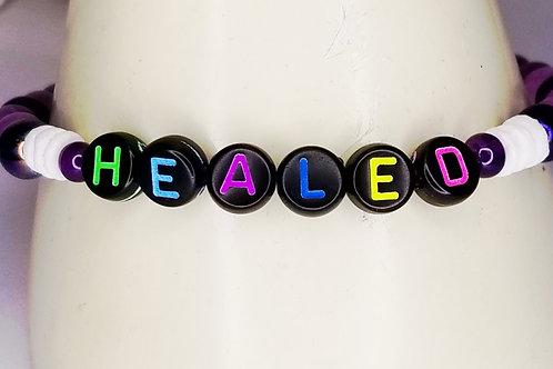 """Healed"" Lettering Bracelet | Purple Jade"