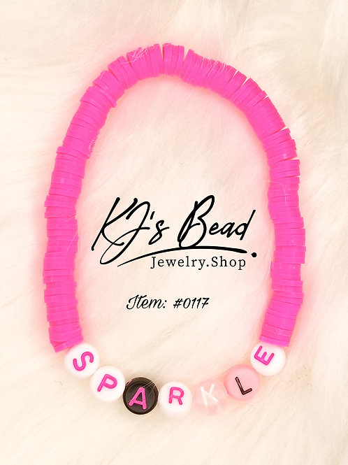 """""""Sparkle"""" Letter Bracelet w/ Pink Clay Beads"""