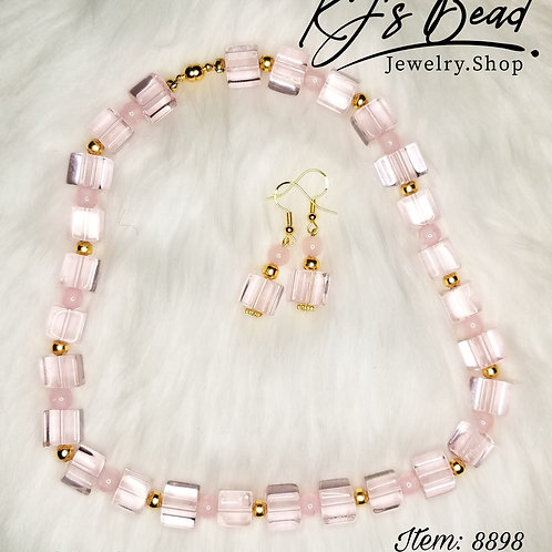Chocker & Earrings Set | Pink Pastel & Gold