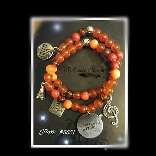 Carnelian Orange and Multi Agate This Girl is on Fire - 2 Stack Set