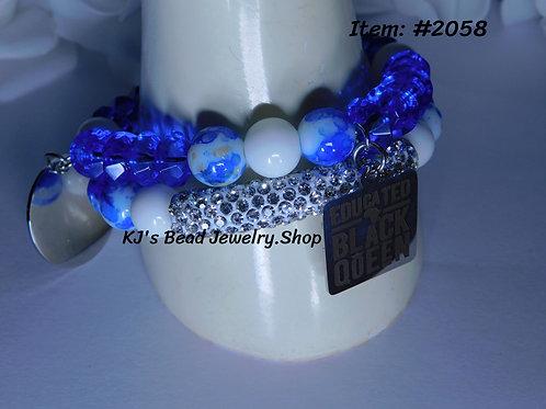Sorority Sisters - Zeta Blue Faceted   White Tridacna Stone   Blue Marble Leaf