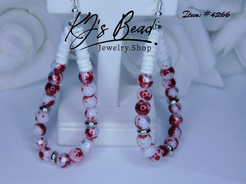 Red & White Silver Leaf Teardrops