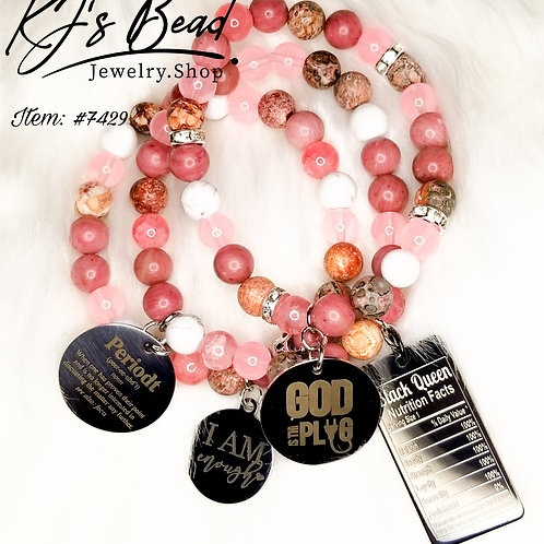 Raspberry Cream Stack Bracelets