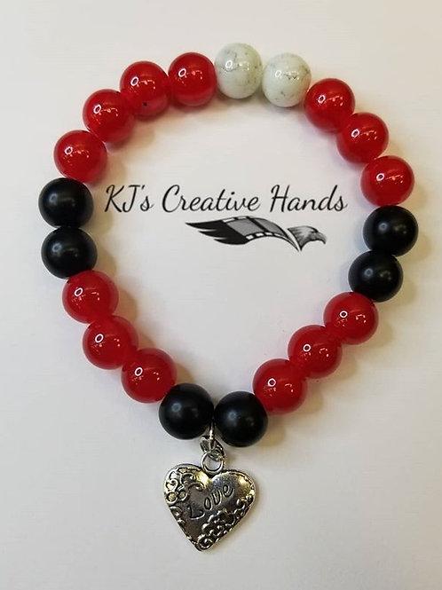 "Garnet, Agate, Jasper bracelet with ""Love Heart"" charms!"