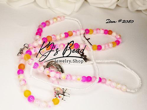 Multi Pink Jade _ Pink Marble _ Orange Sea Glass w_ Charms