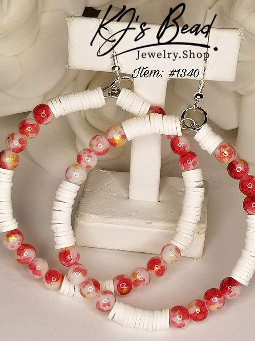 White Heishi & Red, Gold Marble Hoops