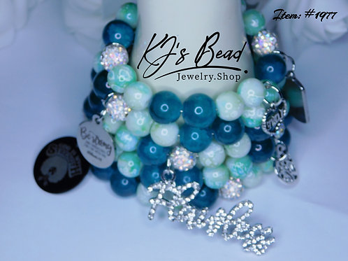 Dark Emerald & Marble Green w_ Disco Balls Memory Wire Bracelet