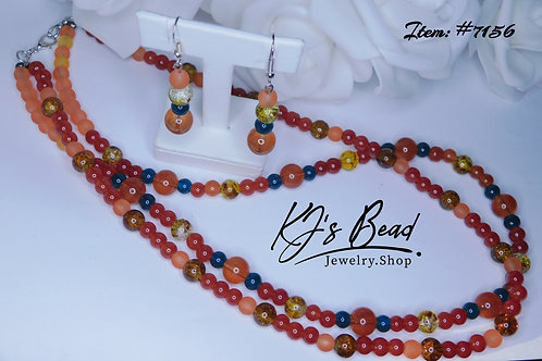 Multi Color Jade Double Necklace & Earring Set