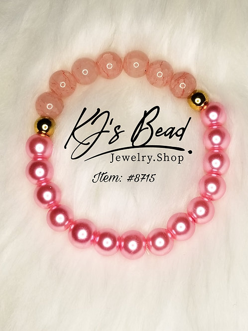 Pink Pearl & Pink Crackle Glass