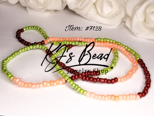 New Waist Beads  - Apple Green, Brick Red, Peach Rose