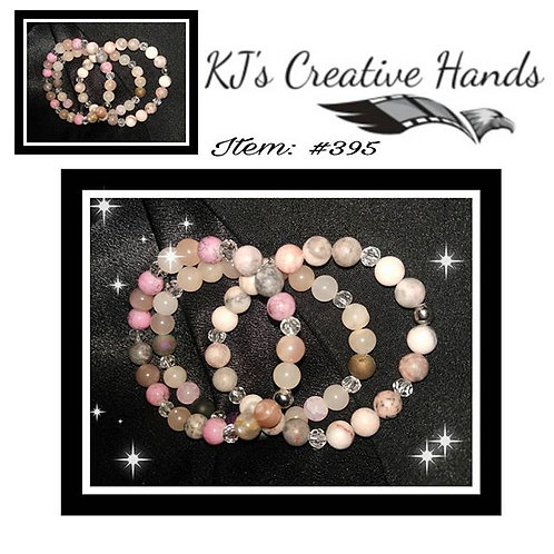 Pink Opal & Agate Stone w/ Clear Crystal Spacers