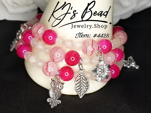 Pink Passion Memory Wire Bracelet w/ Charms