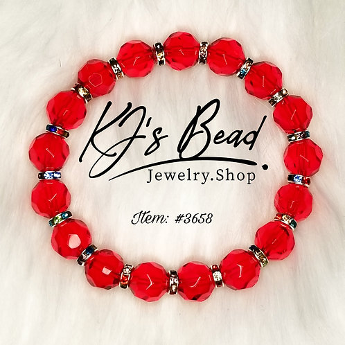 Sexy Red - Faceted w/ Rainbow Rhinestone Spacers