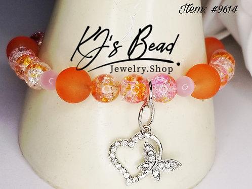 Orange Sea Glass | Orange Crackle & Pink Cat Eye