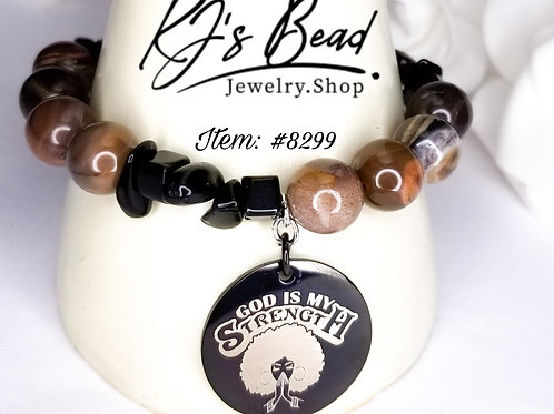 """God is my Strength"" Coffee Stripe Agate w/ Black Onyx  Chips"