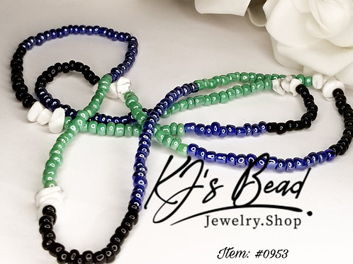 New Waist Beads - Royal Blue, Opaque Green w/ Howlite Gemstones