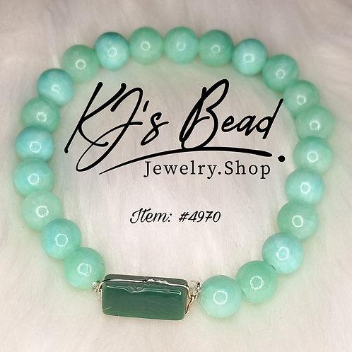 Sea Green Glass Bracelet w/ Agate Pendant