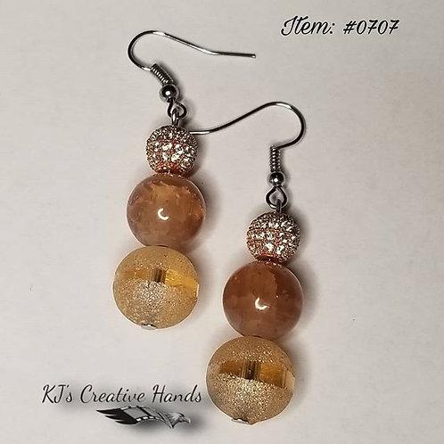 """""""Rosey Peach"""" dangle earrings w/fishhooks"""
