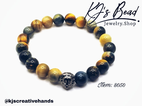 Fantasy Tiger Eye Bracelet w/ CZ Lion Head