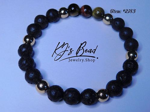 Lava Beads - Tiger Eye - 14k Gold