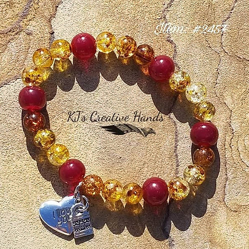 Blood Jade & African Crackle Glass with charms