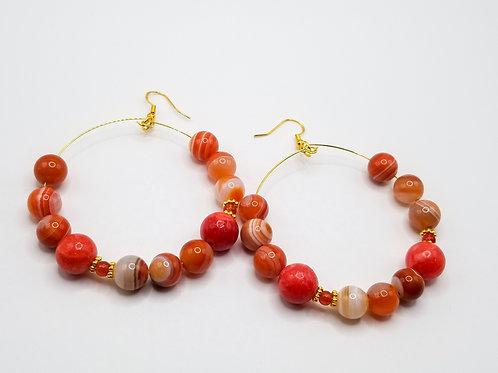 Orange Botswana Agate Gold Hoop Earrings