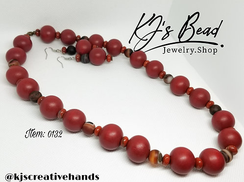 Multi Red Necklace & Earrings Set