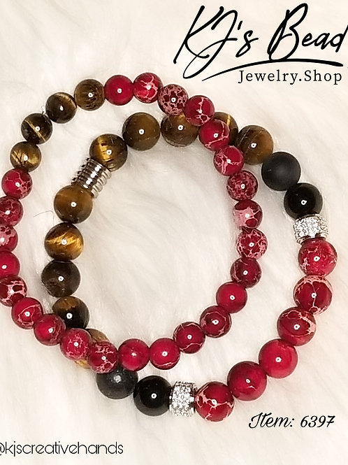 Red, Brown, Black Men's Bracelet Set